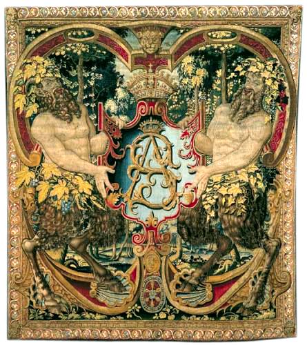Gobelängen med kungen Sigismund Augusts initialer