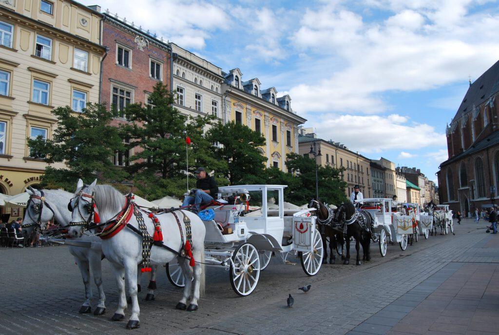 Hästvagnar på Stora torget