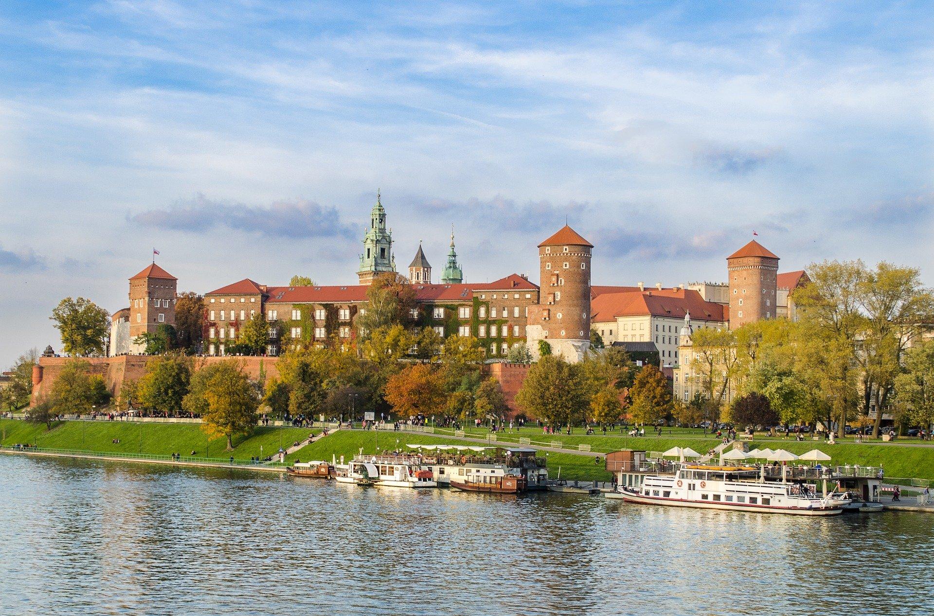Wawelslottet och Wisla floden