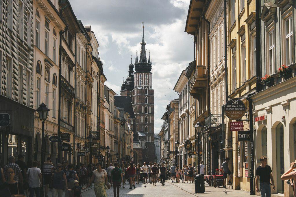 Florianska gatan med Mariakyrkan i bakgrunden